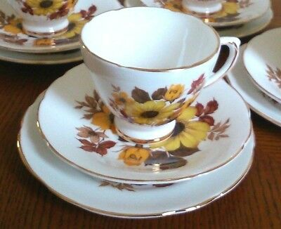Royal Sutherland Bone China Vintage Yellow Floral Cup Saucer And Plate Set