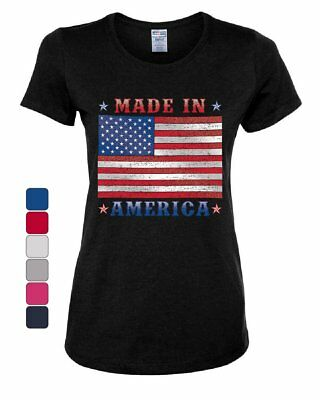 Made in America Women's T-Shirt 4th of July Stars and Stripes Patriot Tee
