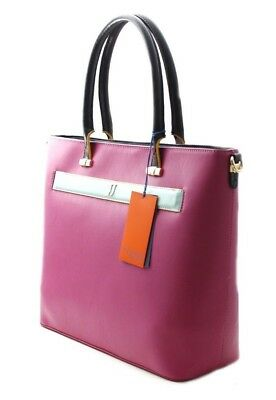 Trussardi Jeans 75B00558/p602 Paprica Color Block Shopping Bag Borsa Zip Fucsia