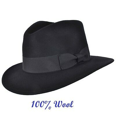 65f001657 MENS CRUSHABLE INDIANA 100% Wool Felt Fedora Trilby Hat With Wide Band Full  Size