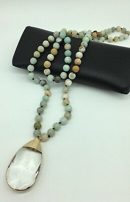 Fashion natural knotted Amazonite Stones crystal pendant necklace woman jewelry