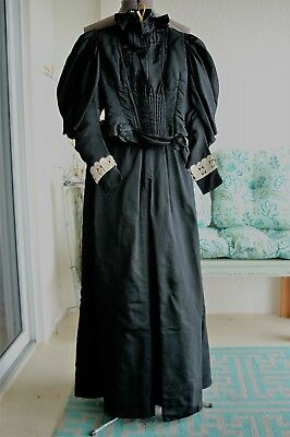 Antique Mourning Ladies Victorian Mutton Sleeve Two pc. Black Walking Dress 1890