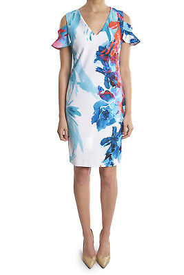 Joseph Ribkoff Blue/White Floral Cold Shoulder Dress 182737 New Cruise Wear