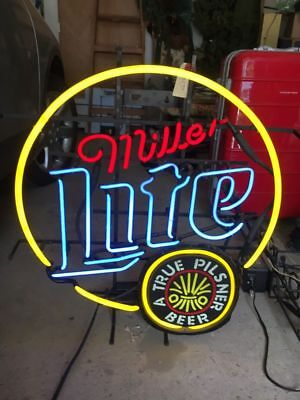 Vintage Miller Lite A True Pilsner Beer Round Neon Bar Sign, Large Retro Light
