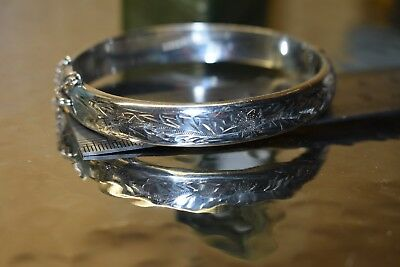 Vintage Sterling Silver Victorian Style Cuff Bangle, 1963 Joseph Smith & Sons