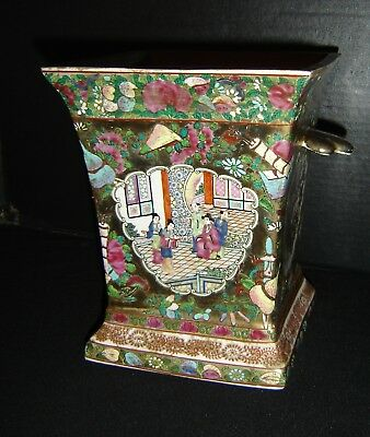 Antique Chinese Famille Rose Planter With Qianlong Apocryphal Mark Court Scenes.