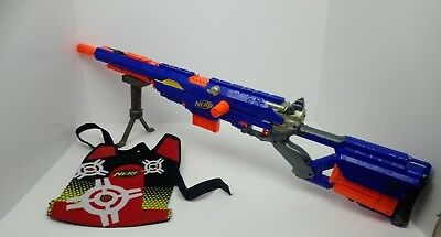 Nerf N Strike Longstrike Cs-6 Sniper Rife With Bipod And 3 Magazines + Vest