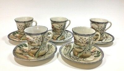 Vintage Nippon Hand Painted Porcelain Coffee/Chocolate 5 Cups & Saucers