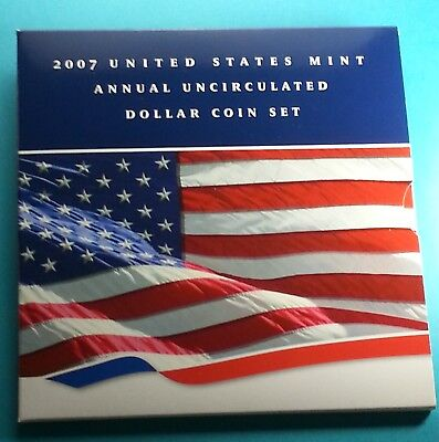 2007 U.S. Annual Uncirculated Dollar Coin Set W/Silver Eagle Incl.