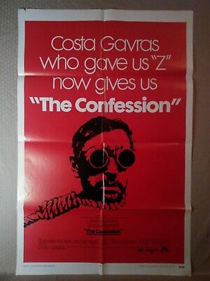 """Vintage 1 Sheet """"The Confession"""" Movie Poster 27x41 Large Costa Gavras 1970"""