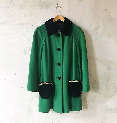 Vintage Moschino Purse Pocket Coat Green 1990s A Line Swinger Cute