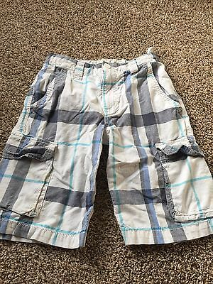 Boys Old Navy Plaid Cargo Shorts Size 10 White/blue/aqua Cc281