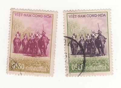 1957 South VIETNAM Anniv of Govt NGO DINH DIEN ELEPHANTS x 2 SG#S38-S39 USED