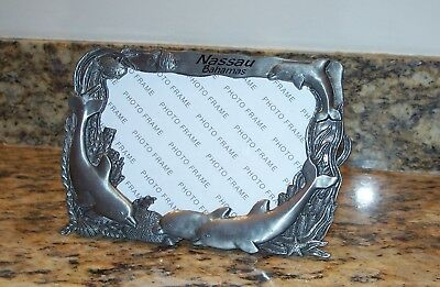 Nassau Bahamas Agiftcorp Dolphin 3D Picture Frame Pewter Metal Dark Nickel Photo