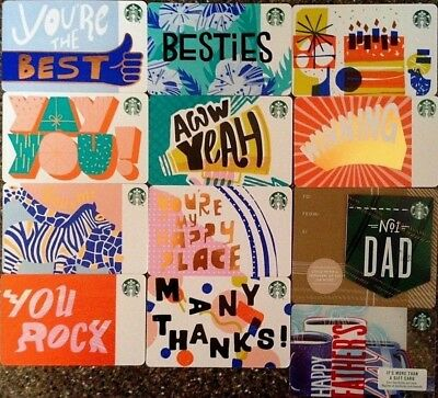 Starbucks 2018 Lot 12 Gift Cards Recycled Paper Set & Happy Father's Day No1 Dad