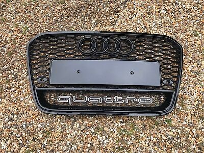Audi A6 C7 S-Line Rs6 Style S6 Front Bumper Radiator Grille Gloss Black 2011-14