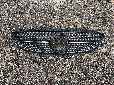 Mercedes-Benz W205 C-Class Amg Sport Diamond Front Radiator Grille Gloss Black