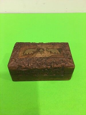 Vintage Hand Carved Wooden Jewelry/trinkets Box Brass Elephant Inlay From India