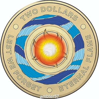 *2018 Australian Lest We Forget Coloured $2 coin*