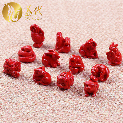 12 PCS Natural Red Cinnabar Carving Lacquer Twelve Chinese Zodiac Statue Pendant