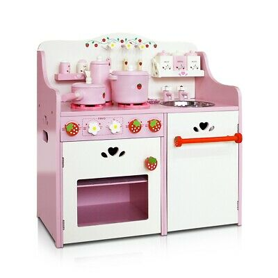 Kids Wooden Kitchen Play Set Girls Pretend Toy Home Cooking Cookware Chef Pink