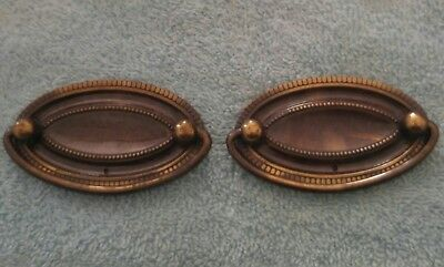 Vintage Amerock Brass Chippendale Hepplewhite Oval Drawer Pulls Set Of 2 Gold