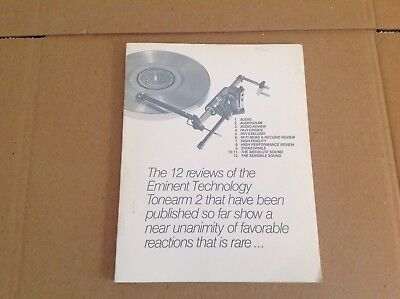 Eminent Technology Turntable Tonearm Turntable Stereo Phono Hi-Fi Vtg Print Ad