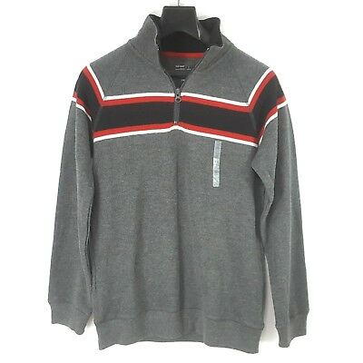 Old Navy Boys Long Sleeve Polo Shirt Sz L 10/12 Gray Red White Blue Stripes