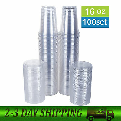 16 oz Plastic Clear Drink PET Cups with Flat Lids 100 Sets Free Shipping New