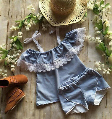 AU Seller Toddler Kids Girls Lace Floral T shirt Tops Shorts Outfits Set Clothes