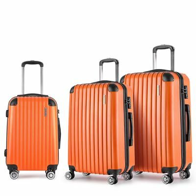 3 Piece Lightweight Hard Suit Case - Orange