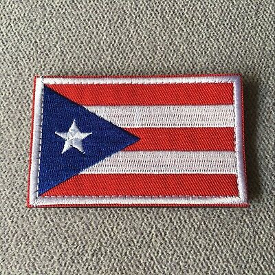 Embroidered Puerto Rico Flag Military Tactical Morale Army Patch Hook Loop Badge