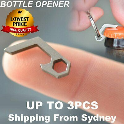 Mini Beer Bottle Opener Keychain Key Ring Small Tool Steel Keyring Camping AU