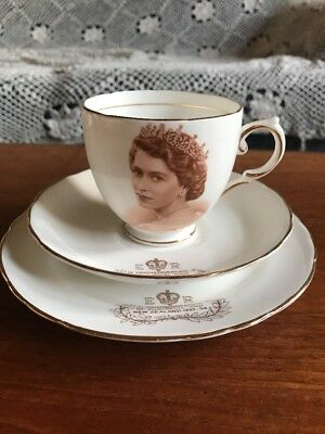 Vintage Tuscan Fine Bone China Commemorative Trio Royal Visit Australia 1950's