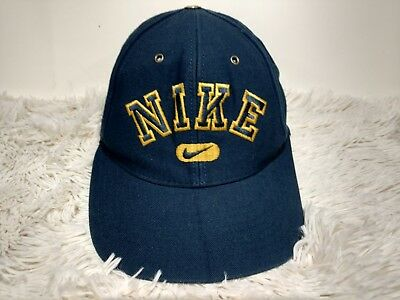bf3fbf41 Vintage 90s Nike Spellout Logo Snapback Hat Swoosh Dad Cap Blue Yellow  Damaged