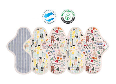 (M/ 5PCS) Reusable Cotton Sanitary Napkins Pad Organic Waterproof Menstrual Pad