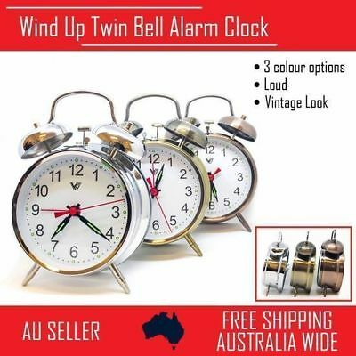 1x Wind Up Loud Twin Bell Alarm Clock Mechanical Table Vintage Retro