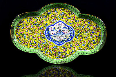 Antique Beautiful Chinese Cloisonné Yellow Geisha Flower tray decorative. i20-49