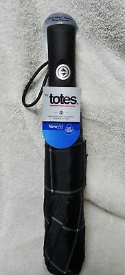 "TOTES 4X DRIER  Auto Open Close Umbrella NeverWet 55"" Coverage BLACK WITH GREY"