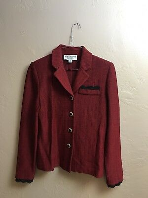 St. John Collection Marie Gray Knit Red Jacket Skirt Size 2 4 2pc Suit
