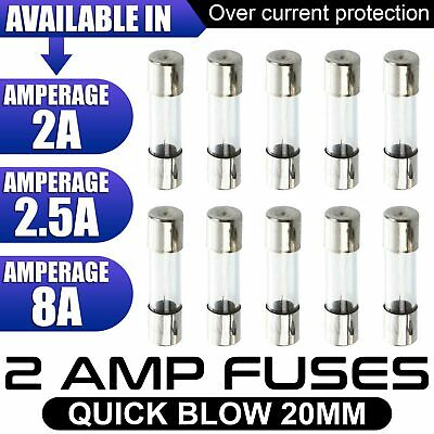 10 PCS 250V 5x20mm Glass Quick Blow Fast Acting Fuse 2A-2.5A-8Amp UK