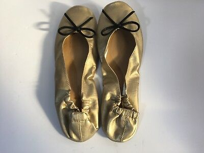 Label Gold Ballet Flats Foldable Womens Size 9