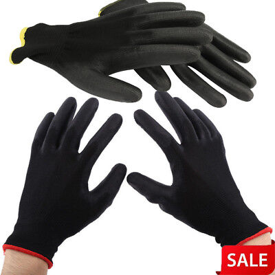 12/24 Pairs Thin PU Nylon Safety Coating Work Gloves Builders Palm Protect S M L