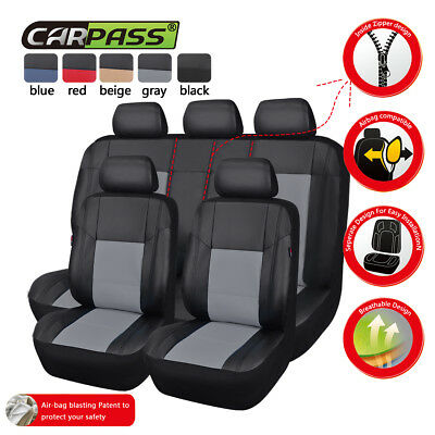 Premium Universal Car Seat Covers Leather Grey For Boy Fit Split Rear Set Airbag
