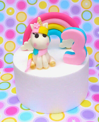 Edible, fondant, unicorn number and rainbow cake topper pack