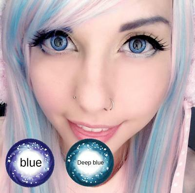 Makuep Blue Purple Colored Circle Contact Lenses for cosplay big eyes sky blue