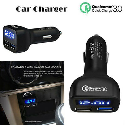 Tablets Auto Volt Amp Meter 2 USB QC3.0 Fast Charging Car Charger LED Display ds