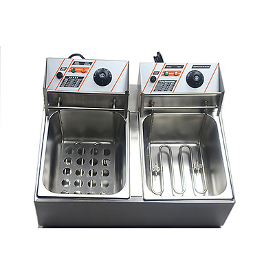 8+8Litres Commercial Electric Deep Fryer Double-Basket Benchtop Chip Cooker Fry