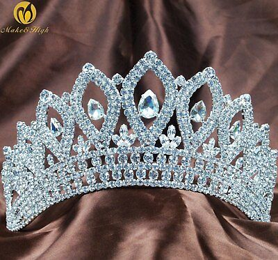 """Miss Pageant Tiaras Wedding Bridal 3.5"""" Crowns Crystals Contoured Gold Heaband"""