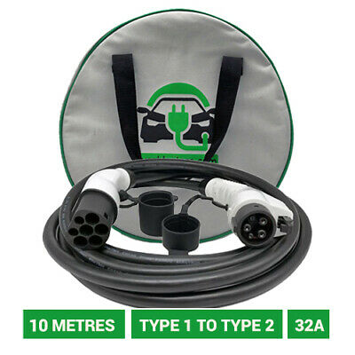Type 1 to Type 2 EV chargers. 10 metre 32A charging cable. 5 YR WARRANTY.